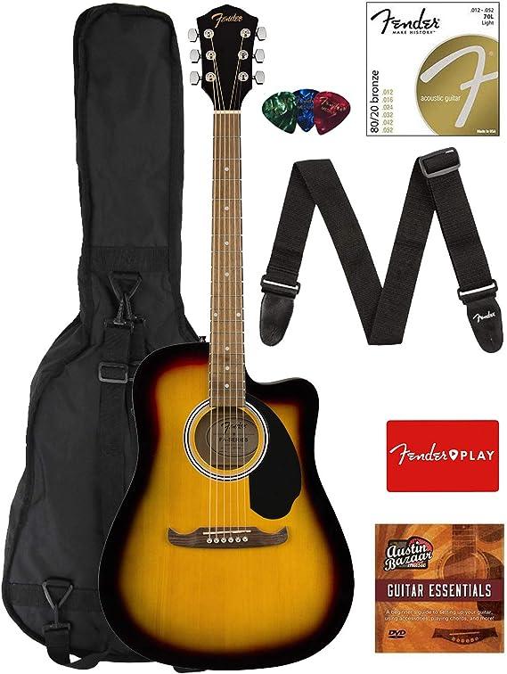 Fender FA-125CE Dreadnought Cutaway Acoustic-Electric Guitar - Sunburst Bundle with Gig Bag