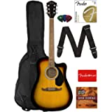 Fender FA-125CE Dreadnought Cutaway Acoustic-Electric Guitar - Sunburst Bundle with Gig Bag, Strap, Strings, Picks…