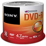 Sony 50DMR47SP 16x DVD-R 4.7GB Recordable DVD Media - 50 Pack Spindle