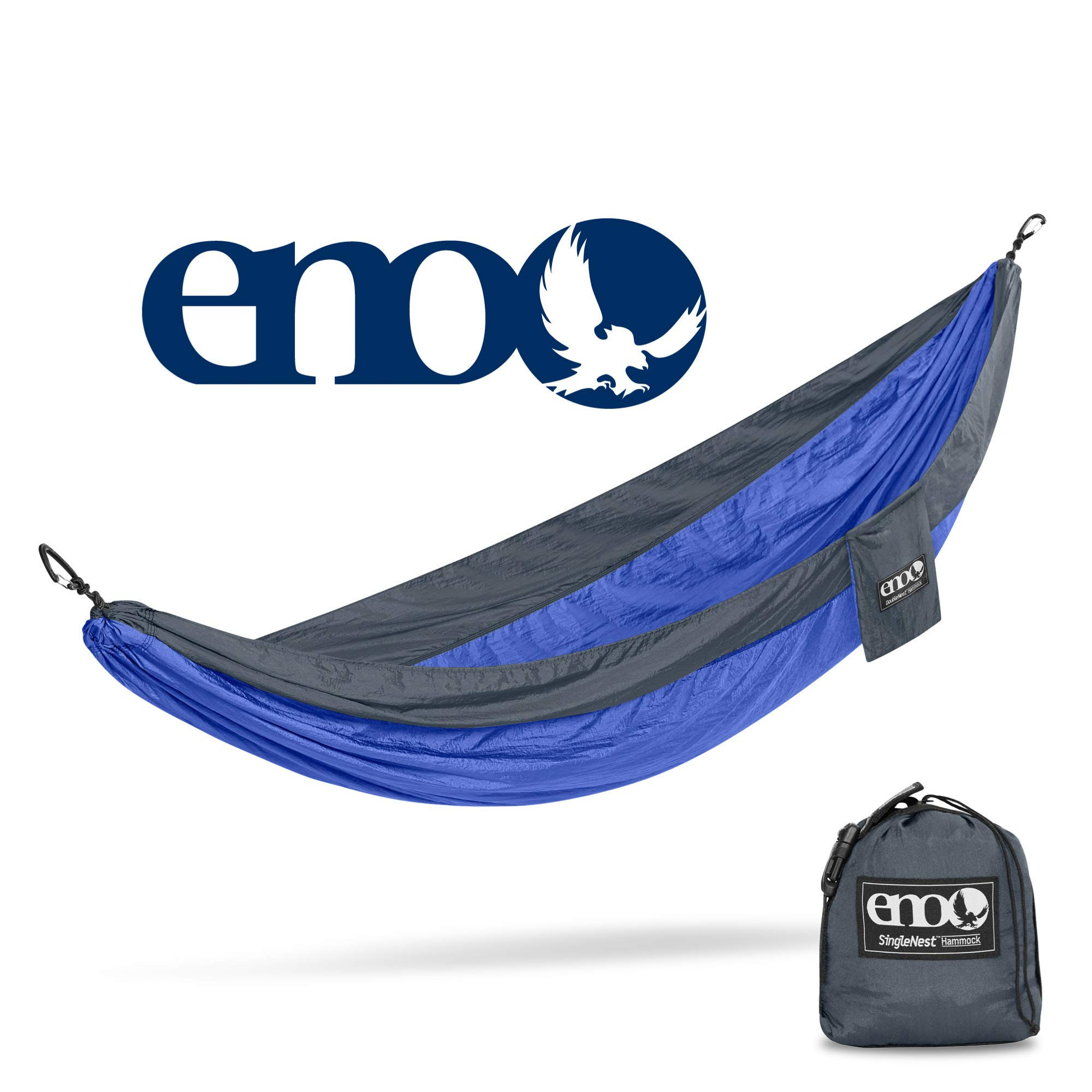 ENO - Eagles Nest Outfitters SingleNest Hammock, Portable Hammock for One, Charcoal/Royal by ENO