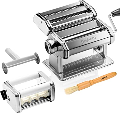 Amazon Com Delihom Pasta Maker Stainless Steel Pasta Machine Cutter Ravioli Attachment And 4 Piece Pasta Roller Accessories For Homemade Spaghetti And Ravioli Kitchen Dining