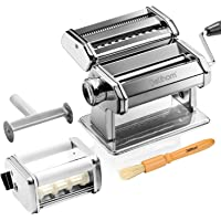 Delihom Pasta Ravioli Maker Deluxe Set -Stainless Steel Noodle Making Machine Includes Pasta Roller, Cutter, Hand Crank, Clamp, Clean Brush and Ravioli Attachment for Homemade Spaghetti and Fettuccini