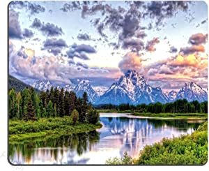 Pingpi Gaming Mouse Pad Custom Design,Grand Teton Snowy Mountains Lake Tree Landscape,9.5 X 7.9 Inch (240mmX200mmX3mm)