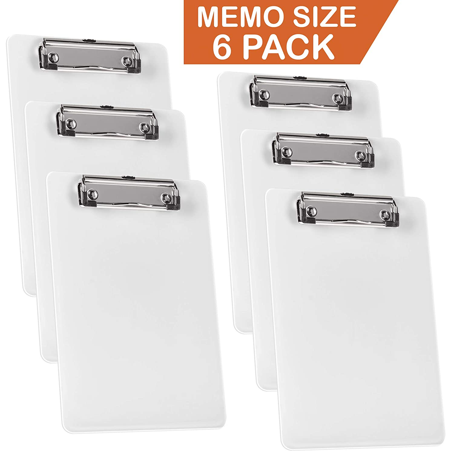 Acrimet Clipboard Memo Size A5 (9 1/4 X 6 1/4) Low Profile Clip (Plastic) (White Color) (6 Pack) 137.C9.W