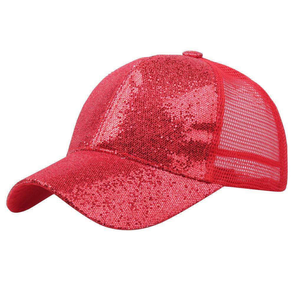 Yaseking Fashion Baseball Cap, Women Girl Baseball Cap Sequin Adjustable Elastic Mesh Baseball Cap (S,Red)