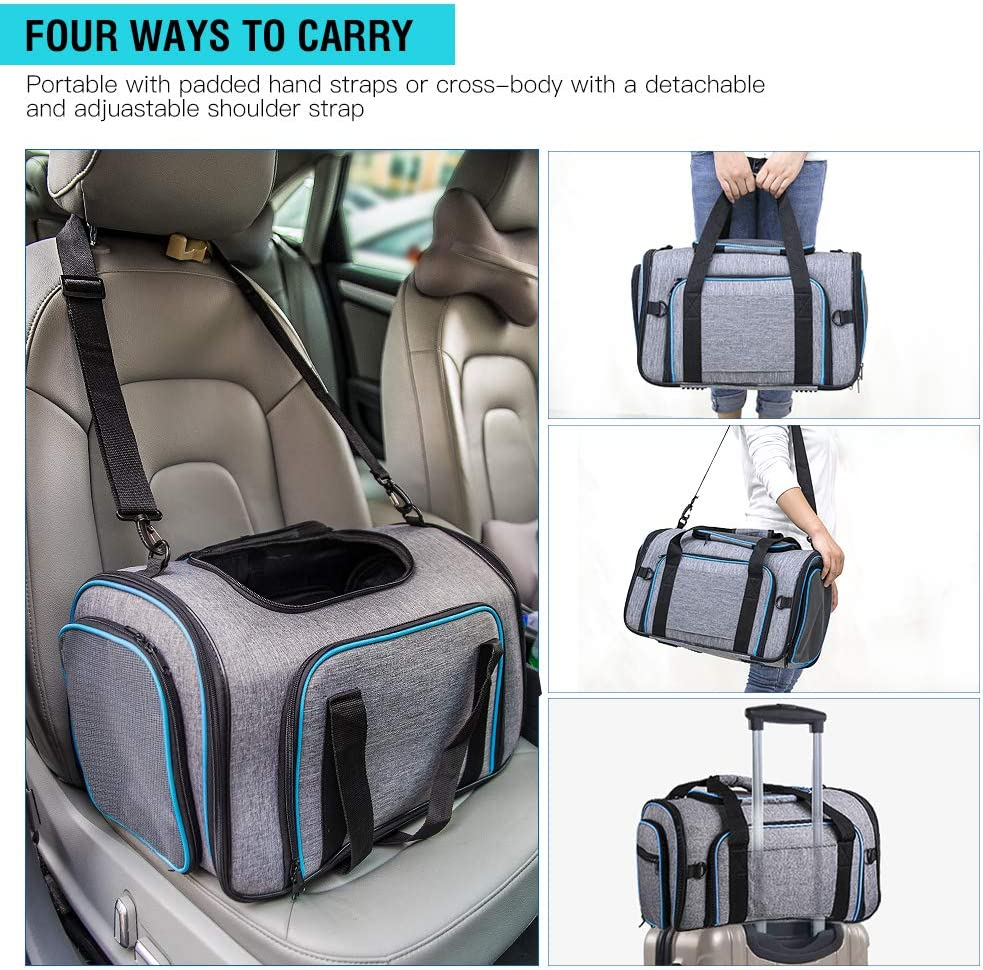Soft Sided Pet Travel Carrier 4 Sides Expandable Cat Carrier with Fleece Pad for Cats Puppy and Small Dogs Siivton Airline Approved Pet Carrier