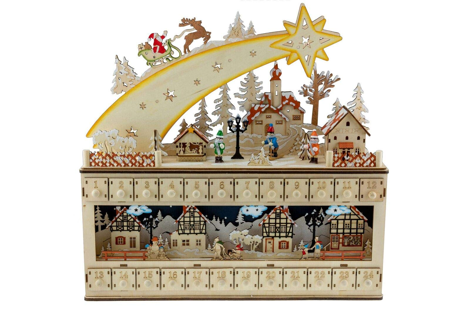 Clever Creations Shooting Star Snowy Village 24 Day Advent Calendar Premium Christmas Décor | Painted Characters | 100% Wood Construction | Cute Holiday Decoration | Measures 17'' x 4'' x 17.25''