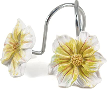Amazon white and yellow floral shower curtain hook set of 12 white and yellow floral shower curtain hook set of 12 mightylinksfo
