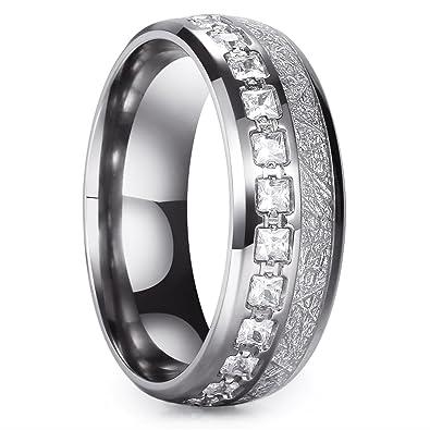 King Will METEOR 8mm Titanium Ring Domed Imitated Meteorite Wedding