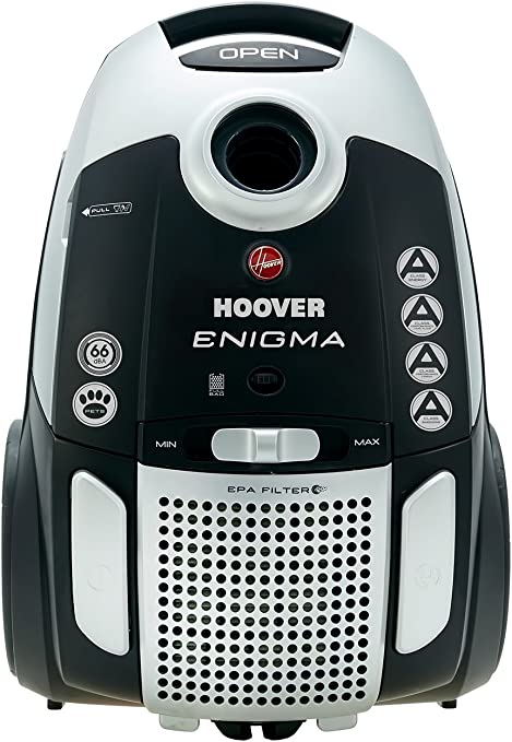 Hoover Enigma Pets Bagged Cylinder Vacuum Cleaner, TE70EN21, Hygienic, Allergy, Powerful, Tools Onboard BlackGrey