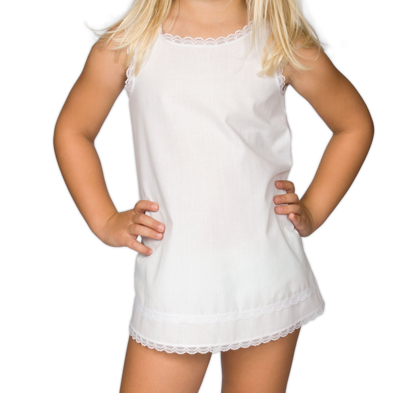 I.C. Collections Little Girls White Simple A-Line Slip, 3T