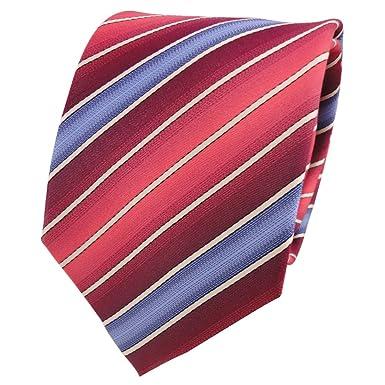Corbata de seda - rojo rosé frambuesa-roja crema negro rayas ...