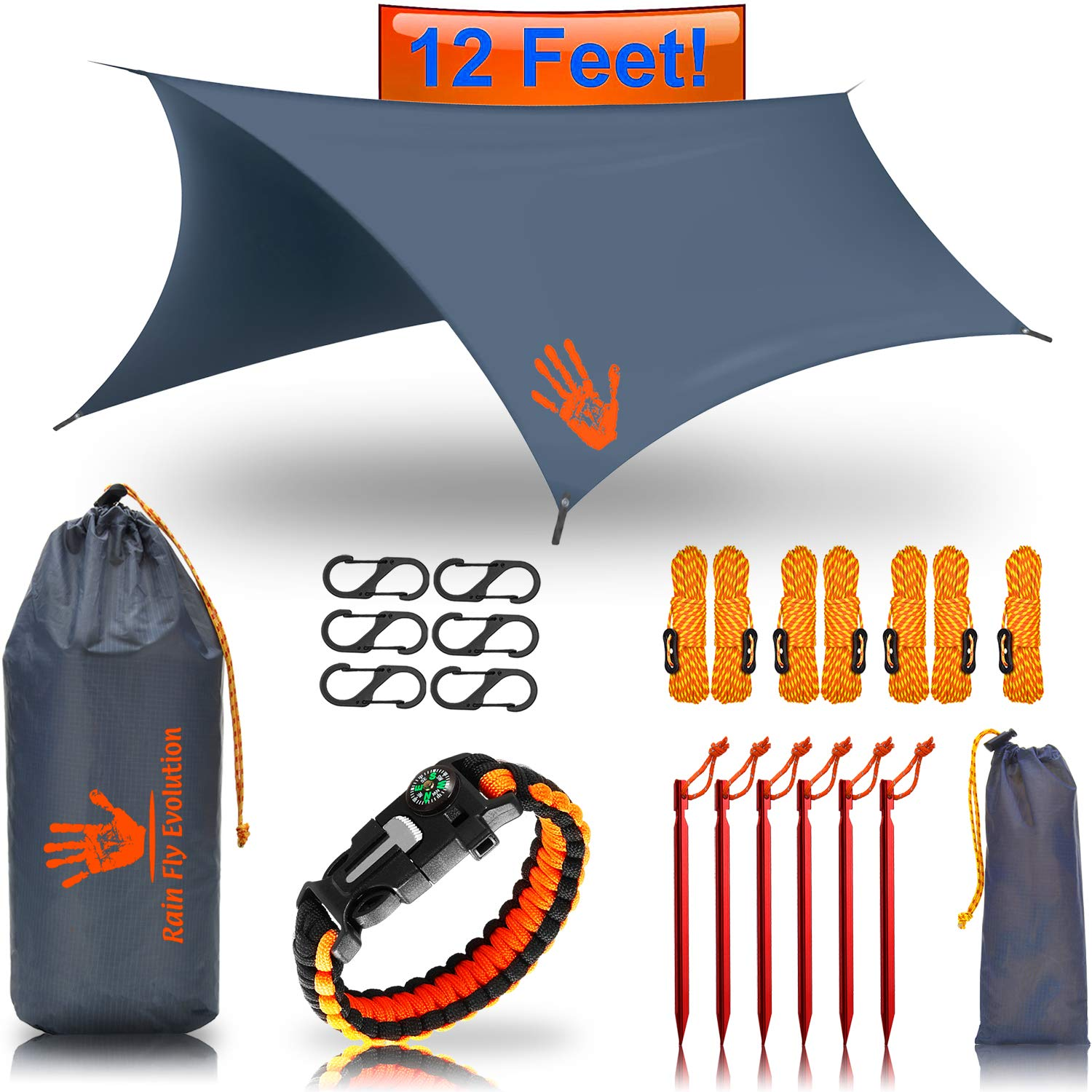 RainFlyEVOLUTION 12 x 10 ft HAMMOCK WATERPROOF RAIN FLY TENT TARP & Survival Bracelet Kit - Lightweight - Backpacker Approved - DIAMOND RIPSTOP NYLON - Perfect Hammock Shelter Sunshade for Camping   by Best Choice Products