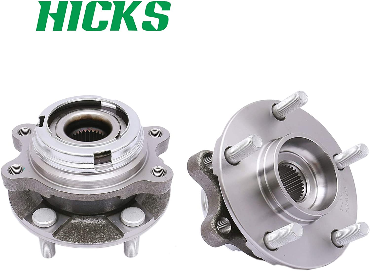HICKS 513310x2 Front Wheel Hub and Bearing Assembly Axle for 03-07 Nissan Murano 04-09 Nissan Quest Set