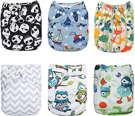 Alva Baby Pocket Cloth Nappies Reuseable Washable 6PCS Diapers 12PCS Inserts 6DM22-EU