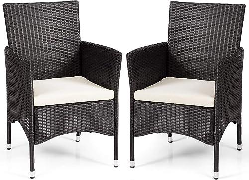 Tangkuls 2 Pcs Patio Rattan Single Chair Set