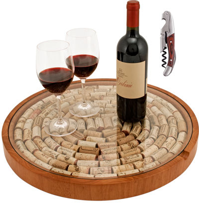 TRUE Fabrications Lazy Susan Cork Storage with Wooden Double Hinged Corkscrew