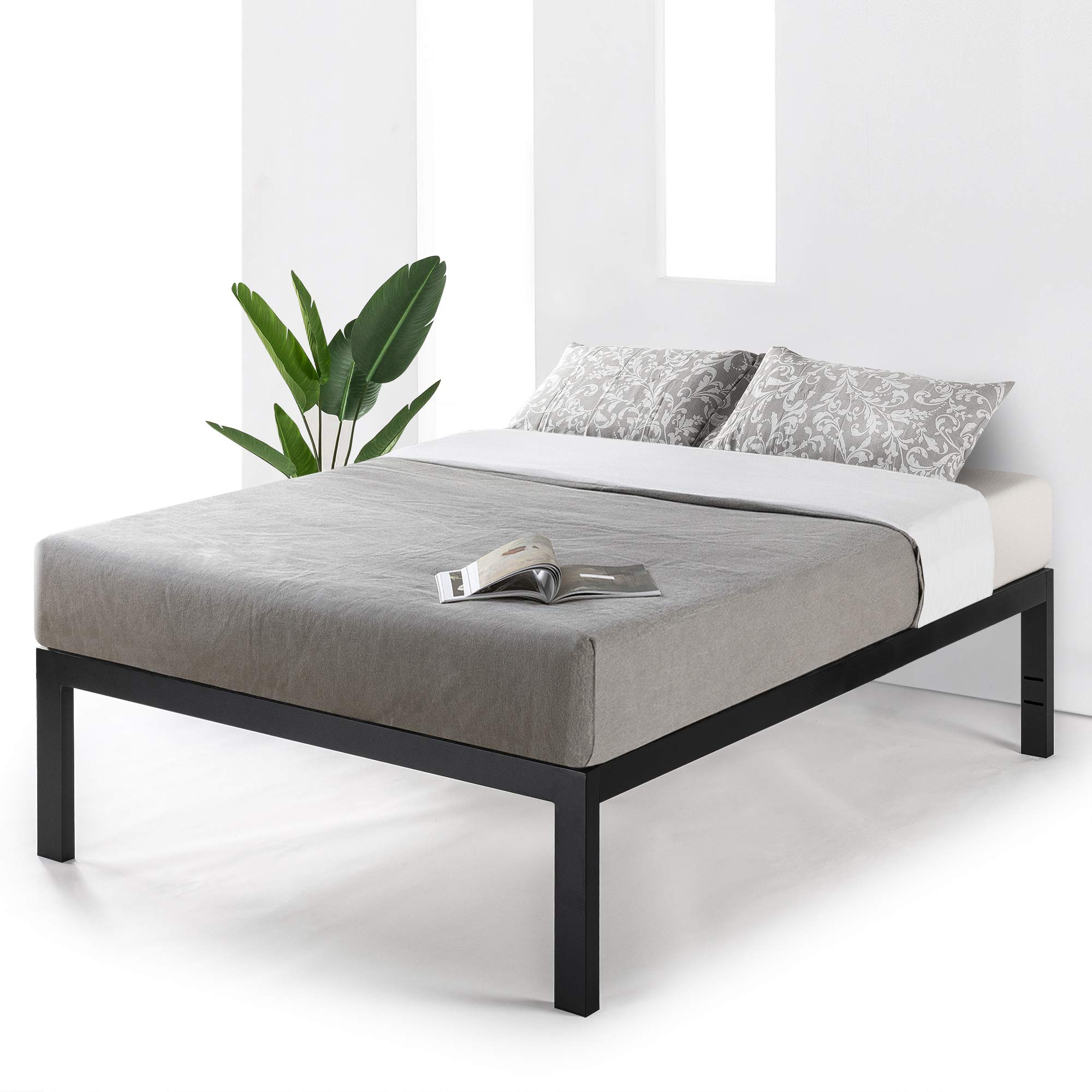 Mellow JustMallet Queen Frame 18 inch Heavy Duty Steel Platform Beds w/Wood Slat Mattress Foundation, Black