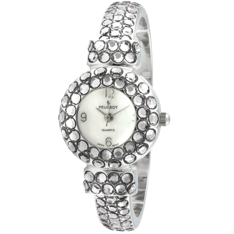 Peugeot Women s Hand Set Crystal Glitz Cuff Bangle Bracelet Jewelry Watch