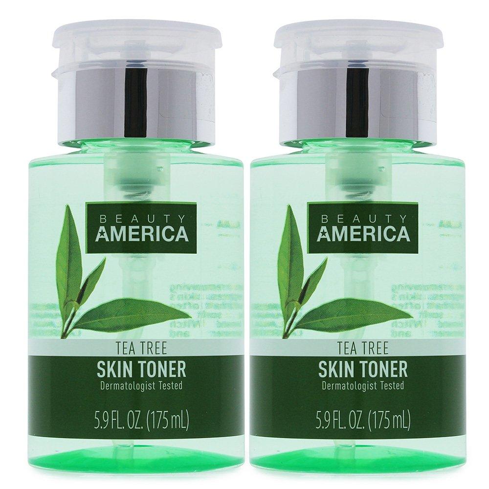 Beauty America Tea Tree Facial Toner, No-Leak, Push-Top Pump, 2 x 5.9 oz