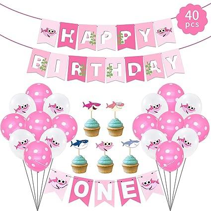 Amazon.com: Decoración de fiesta de cumpleaños de tiburón ...