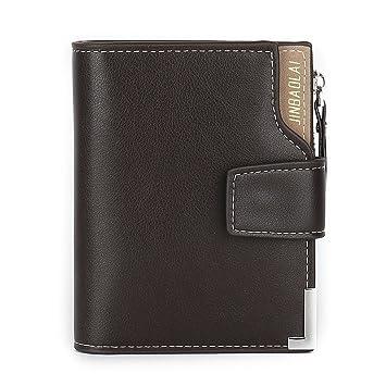 Wewod Cartera para hombres cuero cartera diseño Slim con Zip Coin Pocket , 12.5 * 11* 1.5 cm (Largo * Alto * Grueso) (Marrón): Amazon.es: Equipaje