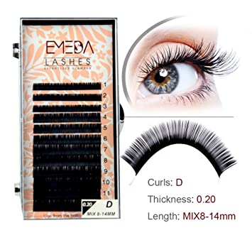 Wholesale D Eyelash Extension Mixed Length 8 14Mm For Extensions Salons 4 Sizes In