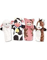 Melissa & Doug Farm Friends Hand Puppets, Puppet Sets, Cow, Horse, Sheep, and Pig, Soft Plush Material, Set of 4, 35.56 cm H x 24.13 cm W x 5.08 cm L