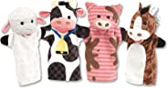 Melissa & Doug Farm Friends Hand Puppets - The Original (Set of 4 - Cow, Horse, Sheep, and Pig - Soft Plush Material, Great