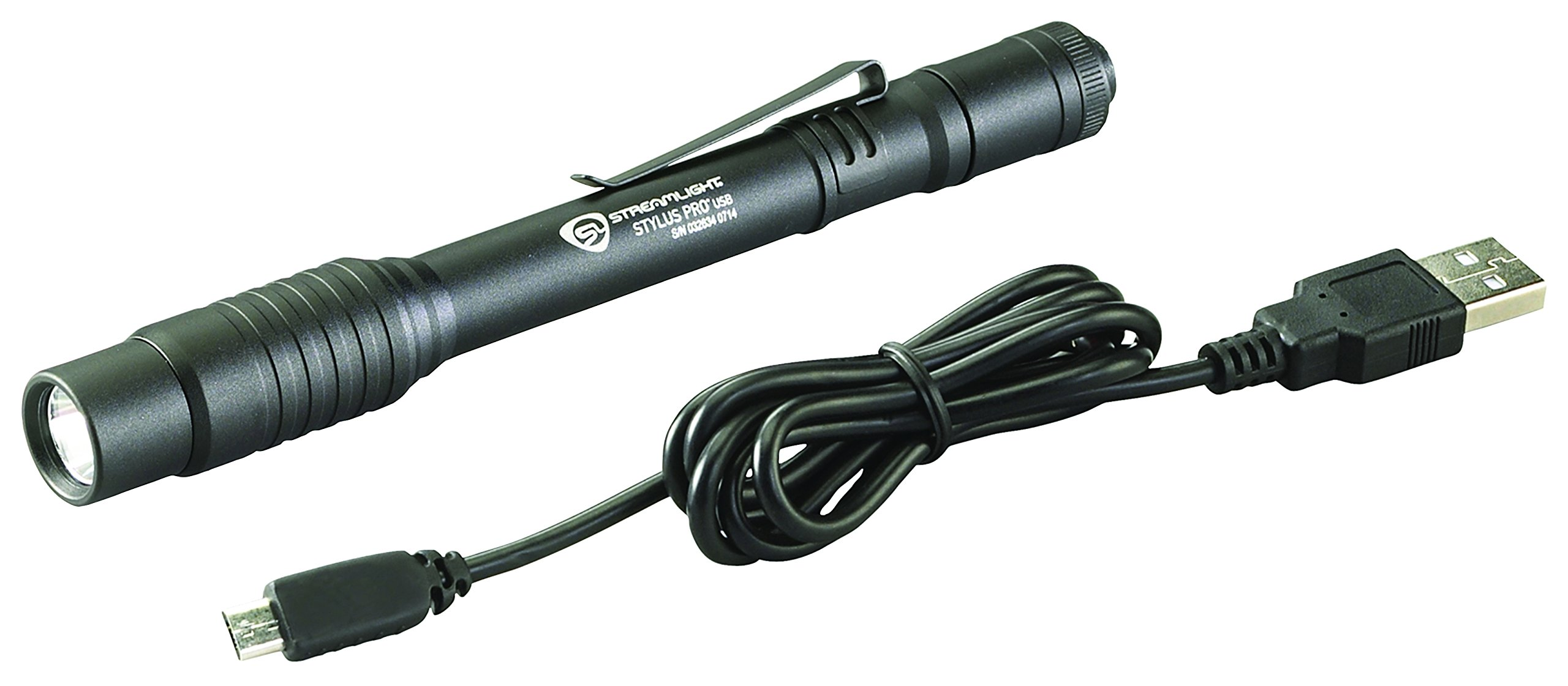 Streamlight 66134 Stylus Pro USB Rechargeable Penlight with Holster and Black/White LED - 250 Lumens