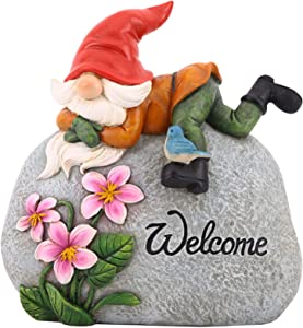 TZSSP Outdoor Garden Gnome Statue Statuary Welcome Stone for Patio,Lawn,Garden Decoration,Red