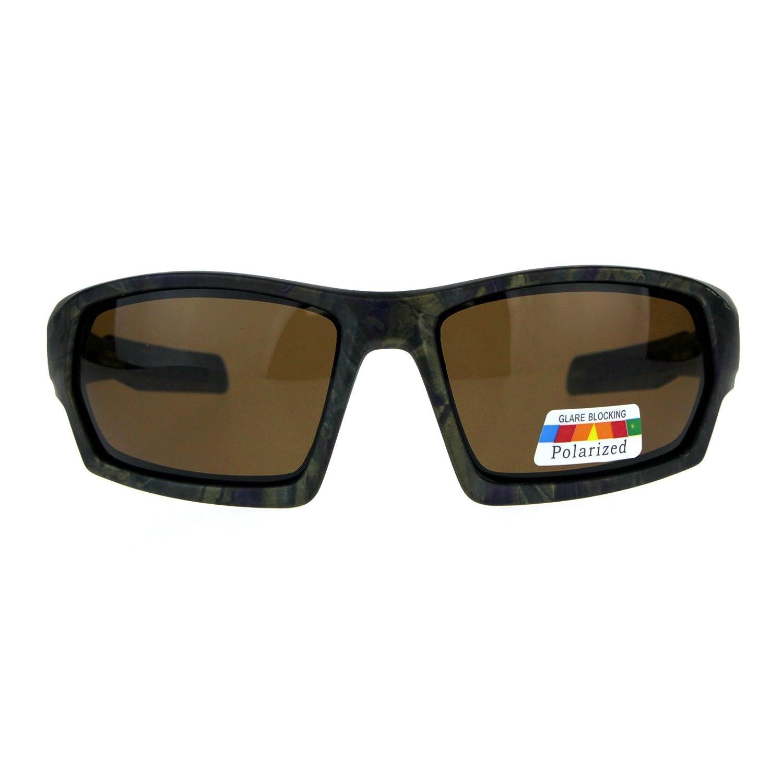 5bb3c252216 Amazon.com  Mens Polarized Rectangular Warp Biker Plastic Sport Sunglasses  All Black  Clothing
