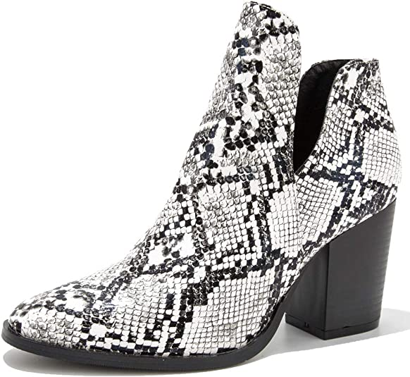 Women's Slip On Bootie Block High Heel Ankle Boots