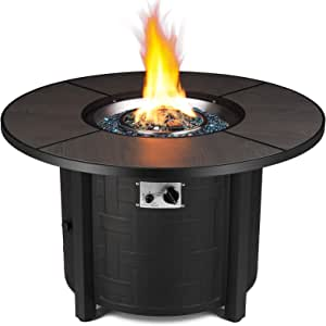 femor 42-in Propane Fire Pit Table, 50,000 BTU Auto-Ignition Fire Bowl with Blue Fire Glass & Waterproof Firepit Table Cover, CSA Certification, Outdoor Fireplace for Patio Courtyard Balcony