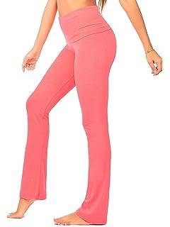 DEAR SPARKLE Bootcut Fold Over Leggings for Women C5 F Plus Size Slim Look Bootleg Yoga Pants w Pocket