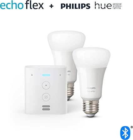 Echo Flex + Philips Hue White Pack de 2 bombillas LED inteligentes ...