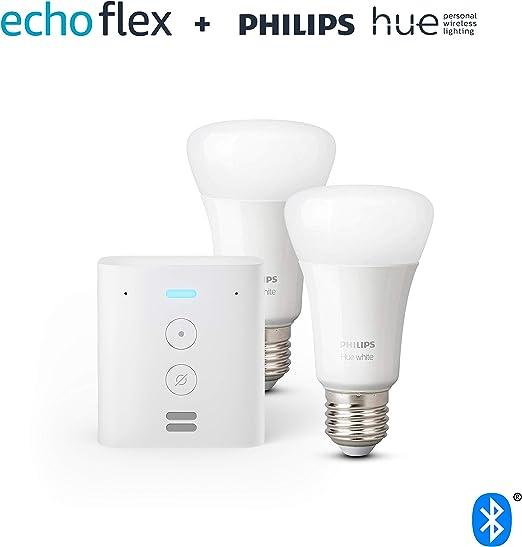 Image ofEcho Flex + Philips Hue White Pack de 2 bombillas LED inteligentes, compatible con Bluetooth y Zigbee, no se requiere controlador