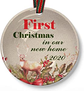 "Muminglong New Homeowners Housewarming Christmas Ornament , 2.75"" Flat Ceramic - First Christmas in Our New Home(Deer Wreath Design)"