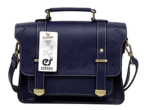Amazon.com: EOSUSI Women's Faux Leather Briefcases Messenger Bag ...