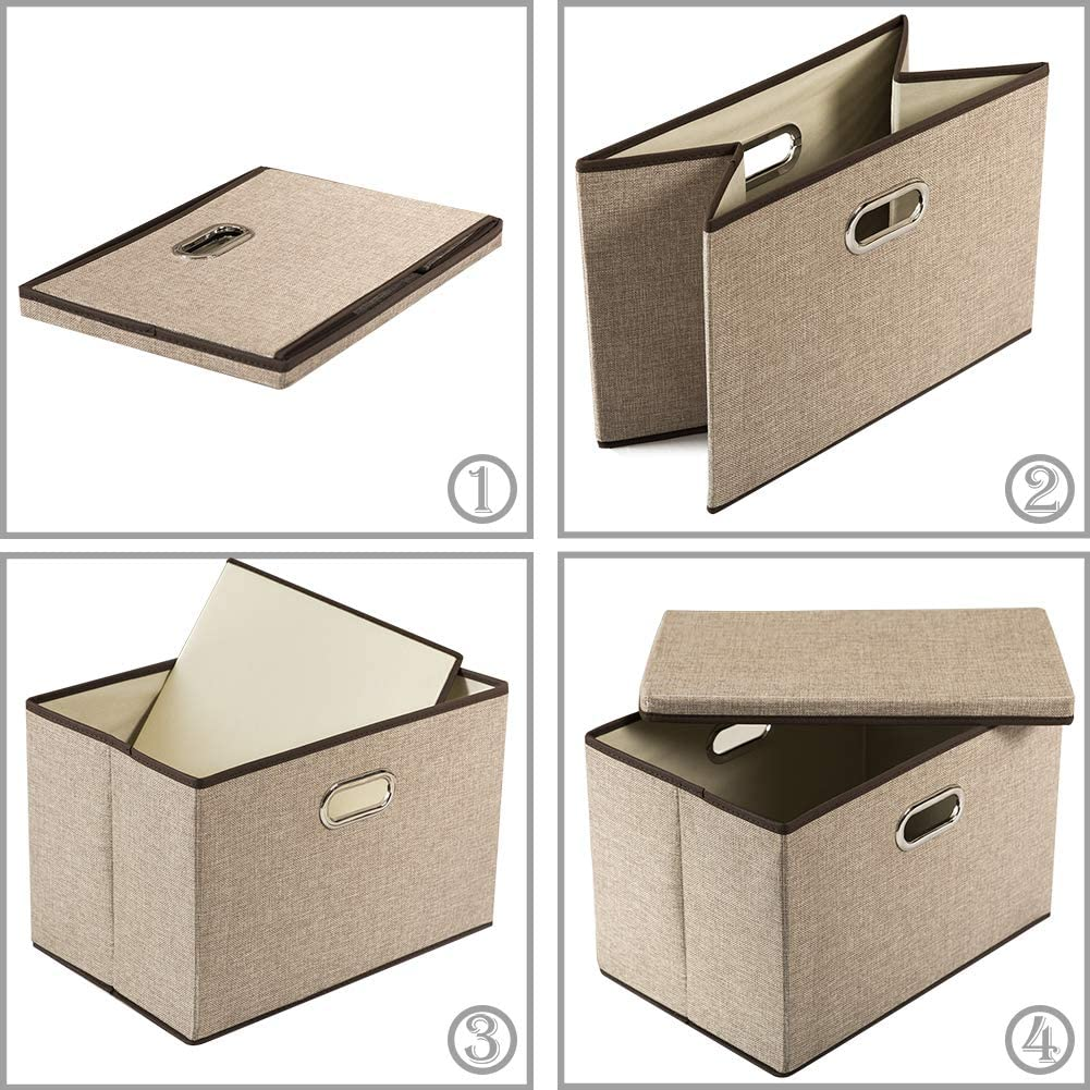 Linen Fabric Foldable Storage Bins Boxes Organizer Baskets Cube with Cover for Home Bedroom Closet Office Nursery 5-Pack Prandom Collapsible Storage Containers with Lids 15x10x10