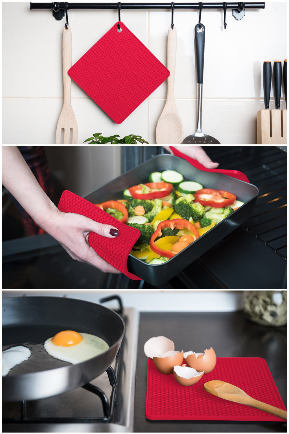 Q's INN Silicone Trivet Mats | Hot Pot Holders | Drying Mat. Our 7 in 1 Multi-Purpose Kitchen Tool is Heat Resistant to 440°F, Non-slip,durable, flexible easy to wash and dry and Contains 4 pcs. by Q's INN (Image #3)