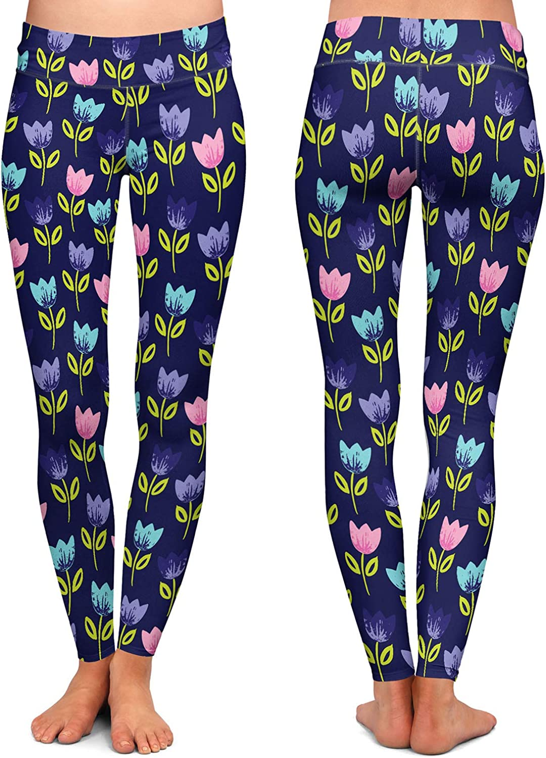 Bugs Tulips Athletic Yoga Leggings from DiaNoche Designs by Metka Hiti