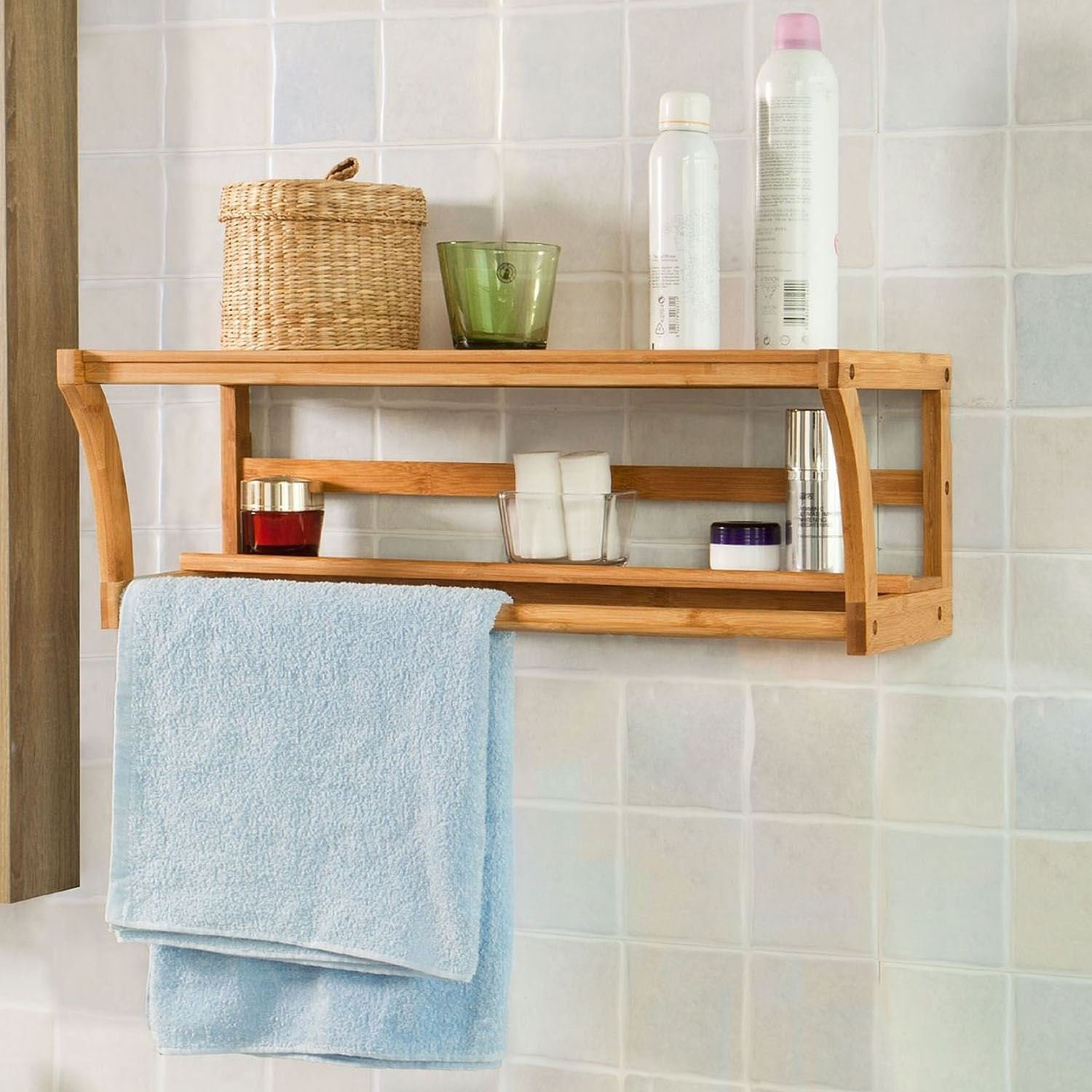 Bamboo Bathroom Organiser Unit with Towel Rail Hanger, Wooden Wall Mounted Rack Storage Shelf for Shamboo WAF