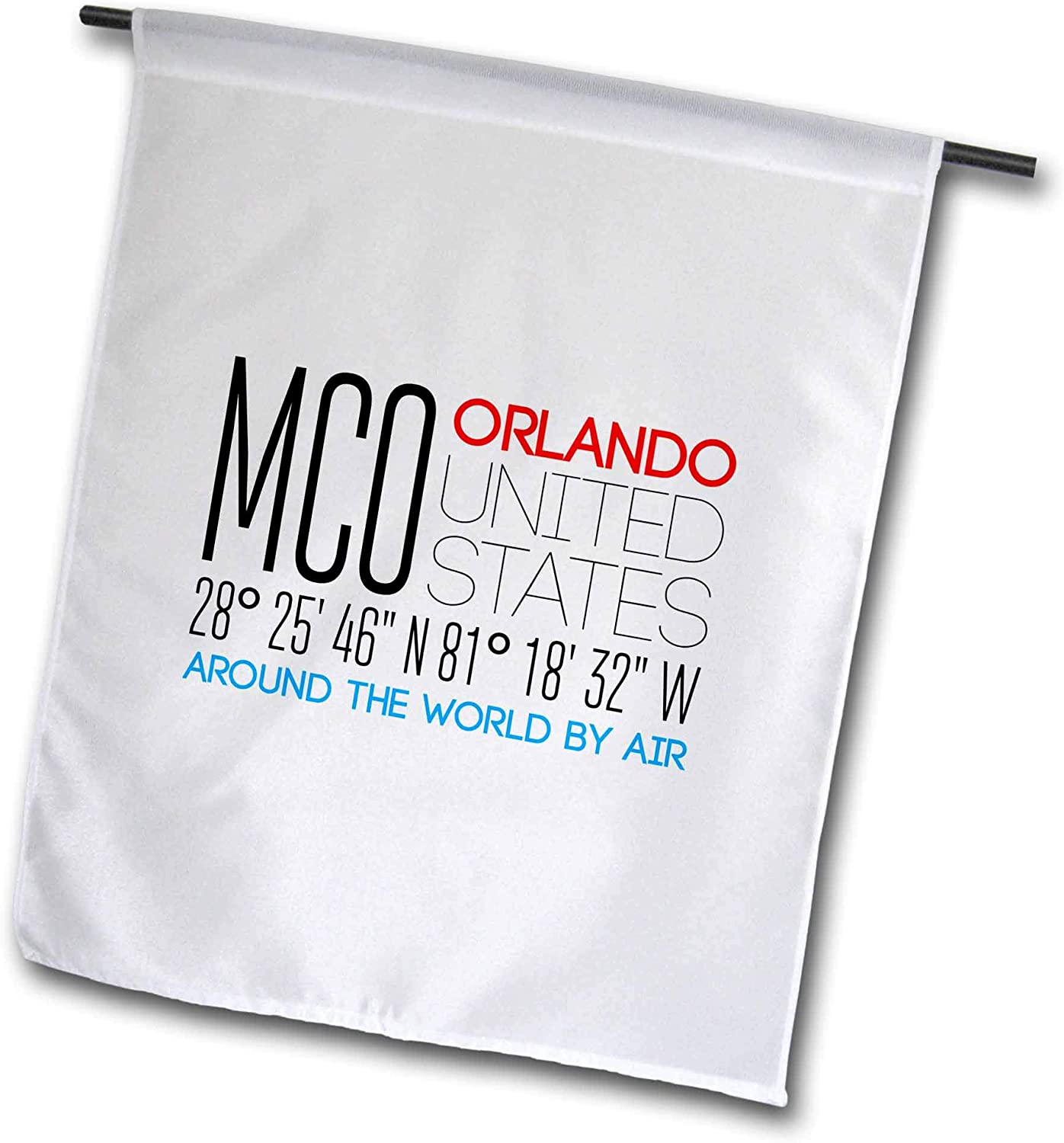 3dRose Alexis Design - Around The World by Air - Beautiful Text MCO, Orlando, United States, Location Coordinates - 12 x 18 inch Garden Flag (fl_311093_1)