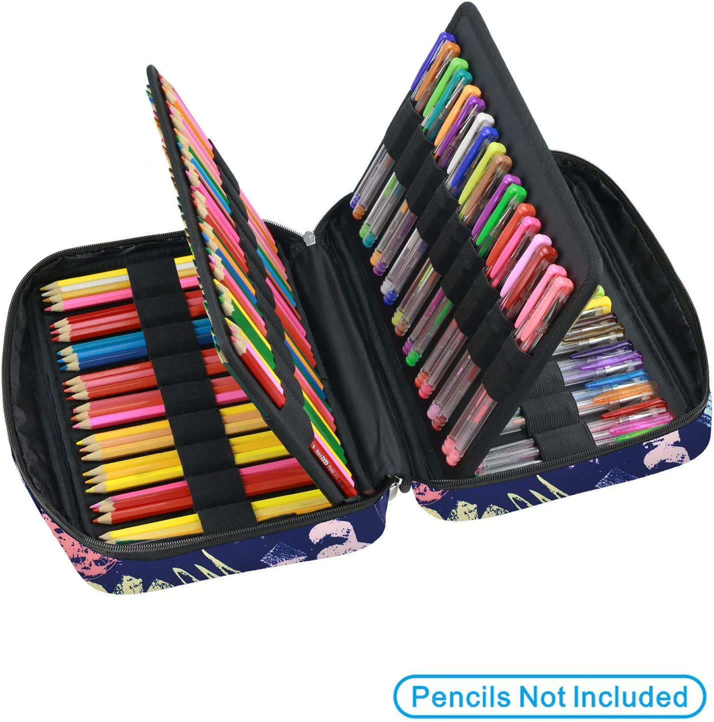 YOUSHARES Colored Pencil Case 166 Slots Pen Case Organizer with Handy Wrap /& Zipper Sports Cat Multilayer Holder for Prismacolor Colored Pencils /& Gel Pen