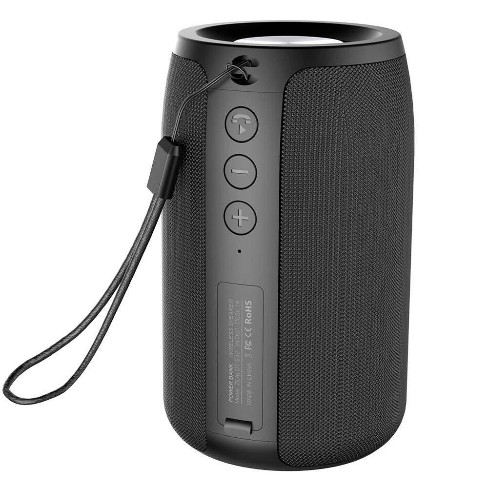 Mini Portable Bluetooth Speakers Zealot S32 Wireless Speaker Upto 8H Playtime MIC Hand Free Calls/Micro SD Card/U Disk/Line-in Modes Competible for iOS Andriod -Black by ZEALOT