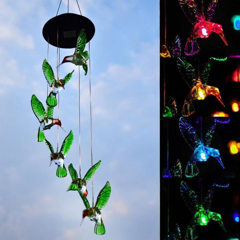 EEEKit Solar Changing Color Hummingbird Wind Chime, Solar Powered LED Hanging Lamp Windchime Light for Outdoor Indoor Gardening Yard Pathway