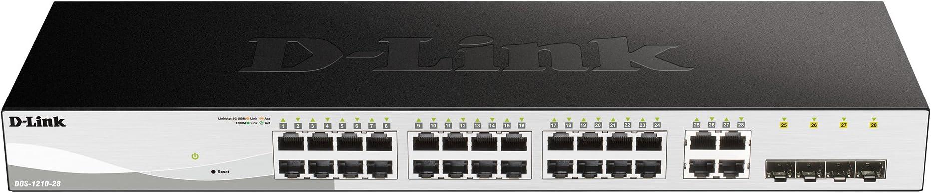 D-Link DGS-1210-28 - Switch 28 Puertos Gigabit y 4 Puertos SFP Combo 100/1000 Mbps, Altura 1U, VLAN automática para Video vigilancia y telefonía IP, Negro: Dlink: Amazon.es: Informática