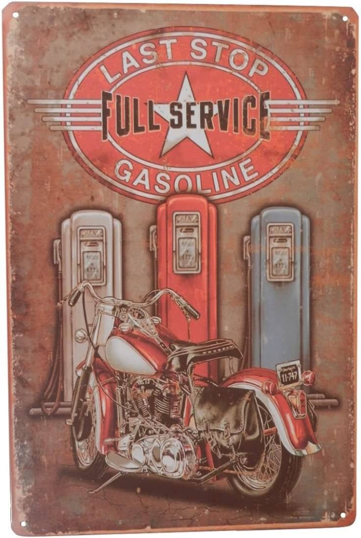 Last Stop Gas Motorcycle Funny Tin Sign Garage Bar Pub Diner Cafe Home Wall Decor Home Decor Art Poster Retro Vintage