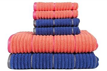 Juego de toallas de baño y de mano de Casa Copenhagen, de algodón canalé, color coral y azul zafiro: Amazon.es: Hogar